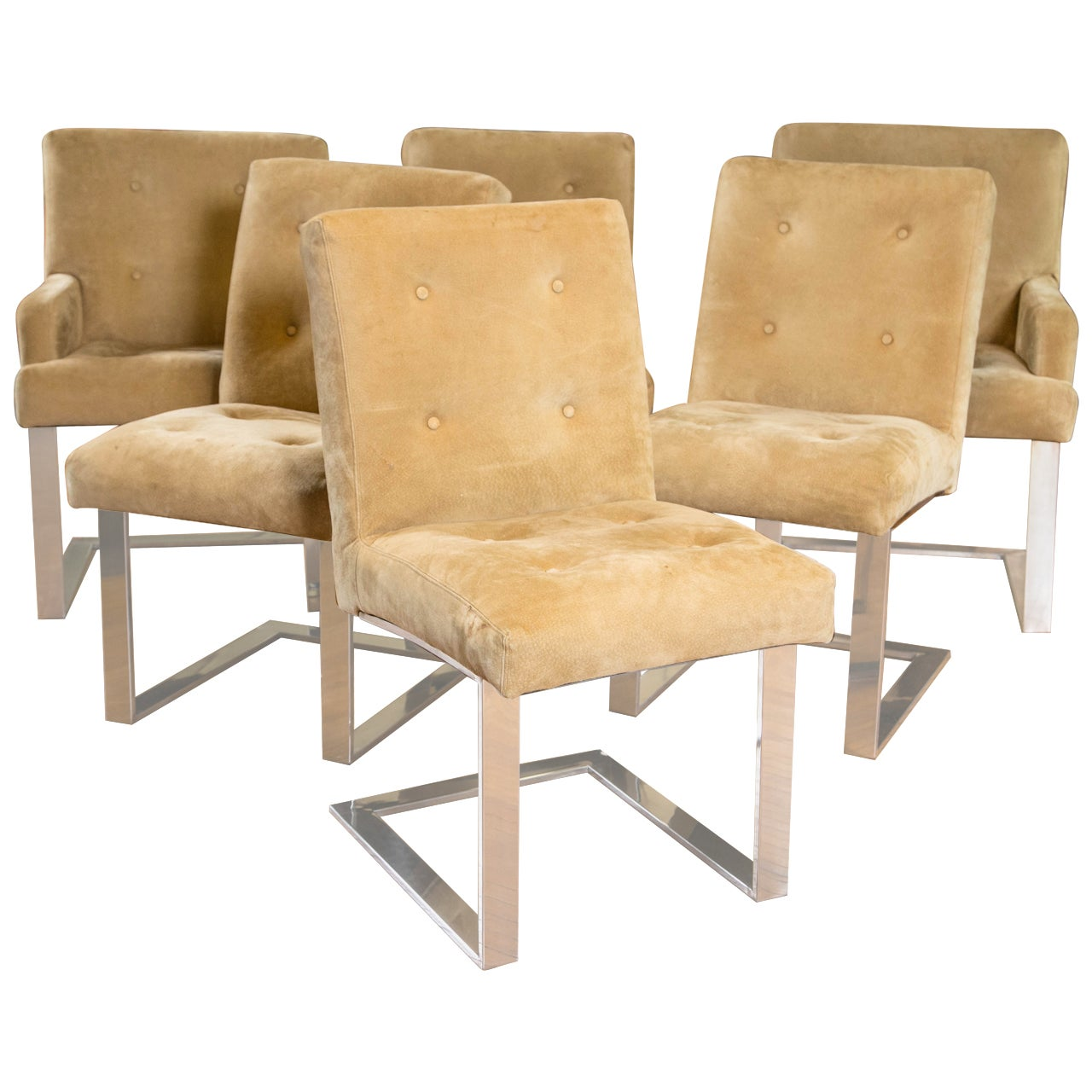 Set of Six SuedePaul Evans for Directional Dining Chairs