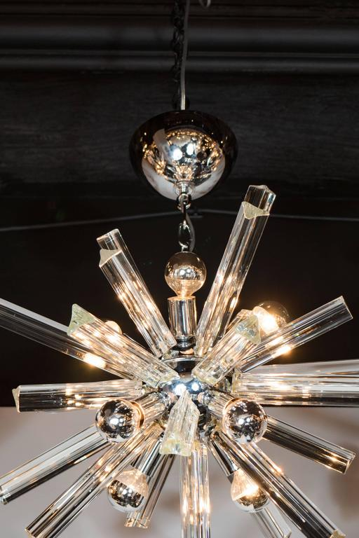 Mid-Century Modern Sputnik Chrome Chandelier with Murano Triedre Rods by Camer In Excellent Condition For Sale In New York, NY