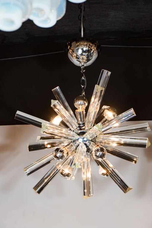 Late 20th Century Mid-Century Modern Sputnik Chrome Chandelier with Murano Triedre Rods by Camer For Sale