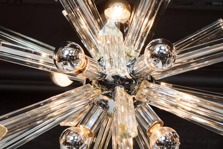 Mid-Century Modern Sputnik Chrome Chandelier with Murano Triedre Rods by Camer For Sale 1