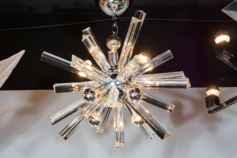 Mid-Century Modern Sputnik Chrome Chandelier with Murano Triedre Rods by Camer For Sale 2