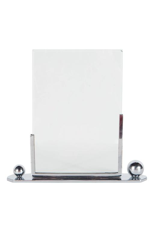 Art Deco Polished Chrome Picture Frame with Asymmetrical Detailing For Sale 2