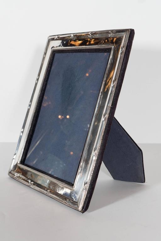 Hollywood Regency Elegant Sterling Silver Ribbon and Reed Picture Frame For Sale