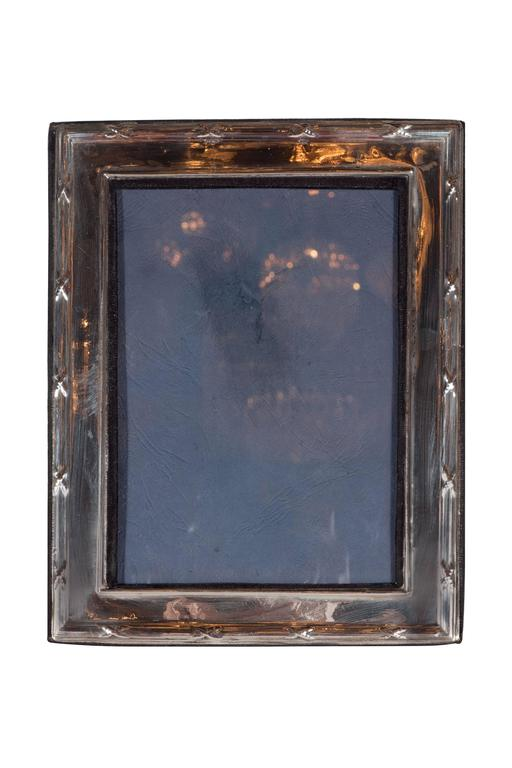 Mid-20th Century Elegant Sterling Silver Ribbon and Reed Picture Frame For Sale