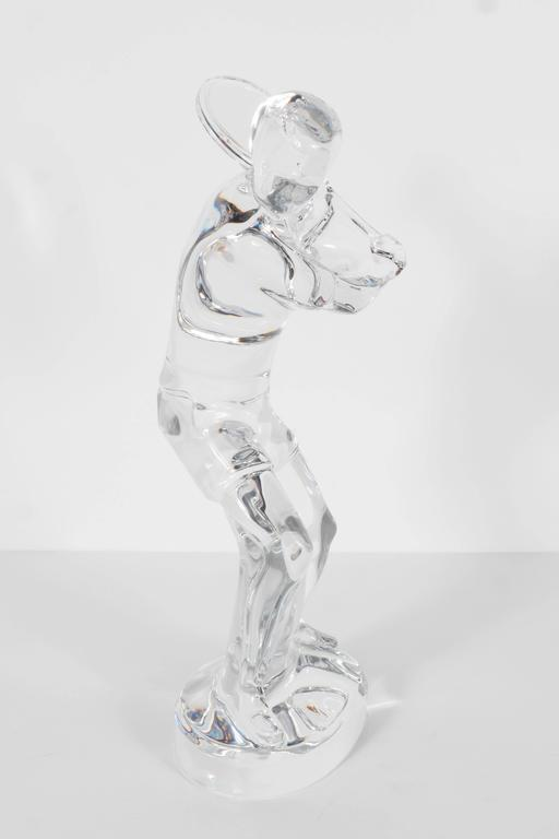 French Baccarat Art Glass Male Tennis Player Crystal Figurine For Sale