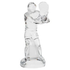 Baccarat Art Glass Male Tennis Player Crystal Figurine