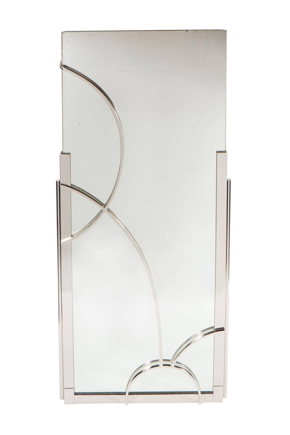 Art deco nickeled bronze mirror with cubist geometric for Geometric accent wall