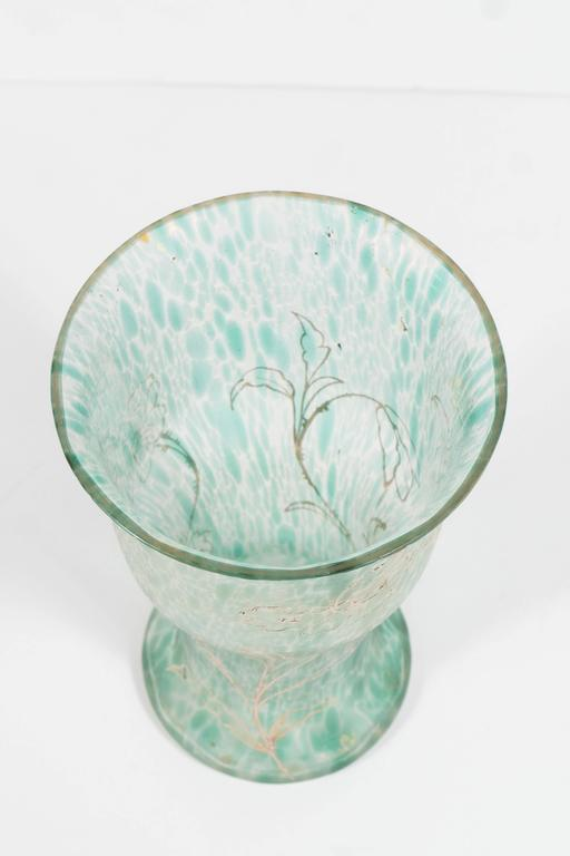 Art Nouveau Austrian Art Glass Vase in Green Iridescent and Gold Relief Vine 2