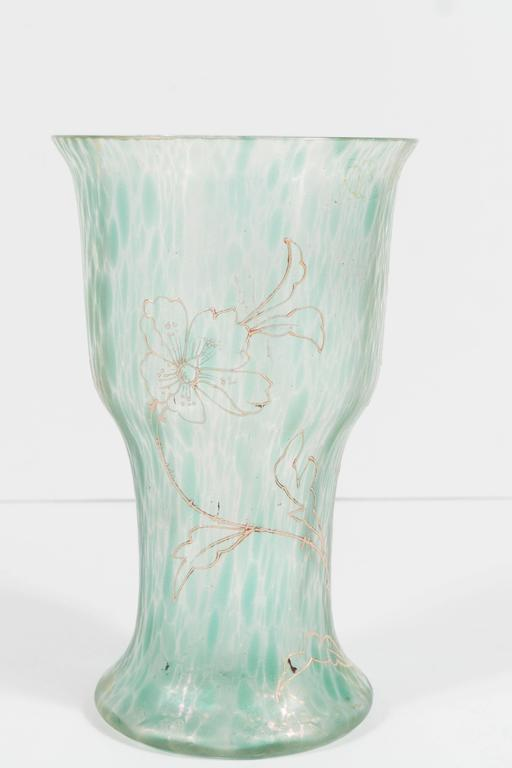 Art Nouveau Austrian Art Glass Vase in Green Iridescent and Gold Relief Vine 6