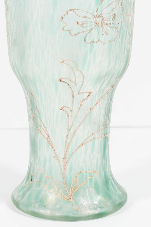 Art Nouveau Austrian Art Glass Vase in Green Iridescent and Gold Relief Vine 7