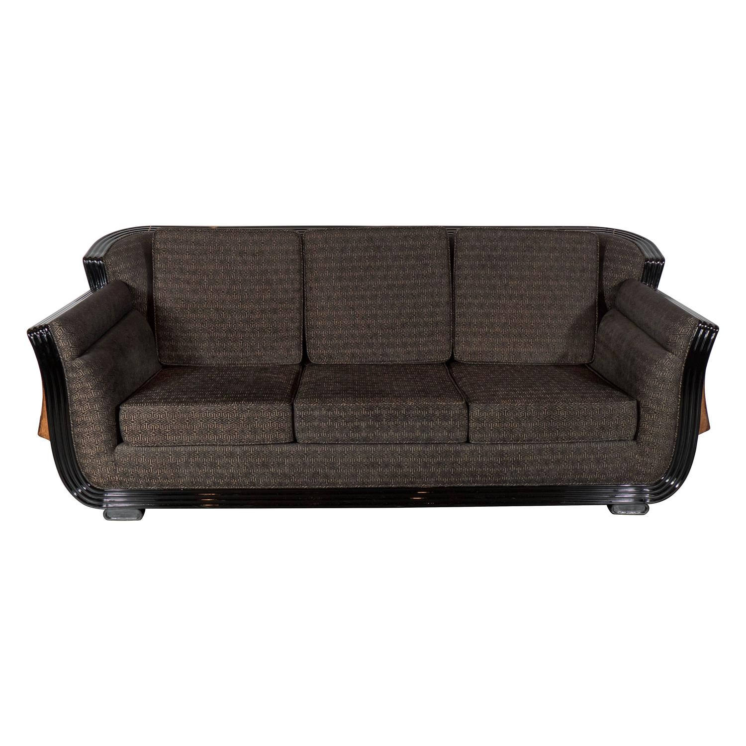 Cubist Art Deco Sofa With Exotic Wood Inlay Design And