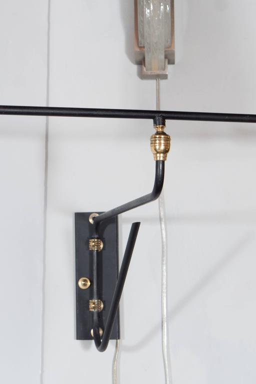 French Enamel Wall Lights : Pair of French Mid-Century Swing-Arm Counterbalanced Sconces in Brass and Enamel at 1stdibs