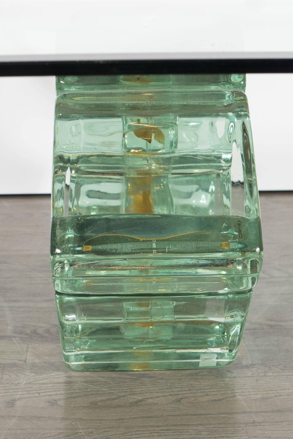 Mid Century Double Diamond Glass Block Cocktail Table By William G Faber For Sale At 1stdibs