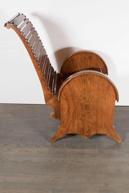 French Art Deco Bookmatched Burled Walnut Adjustable Chair