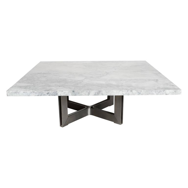 Marble Coffee Table Industrial: Mid-Century Modernist Industrial Steel X-Base Cocktail