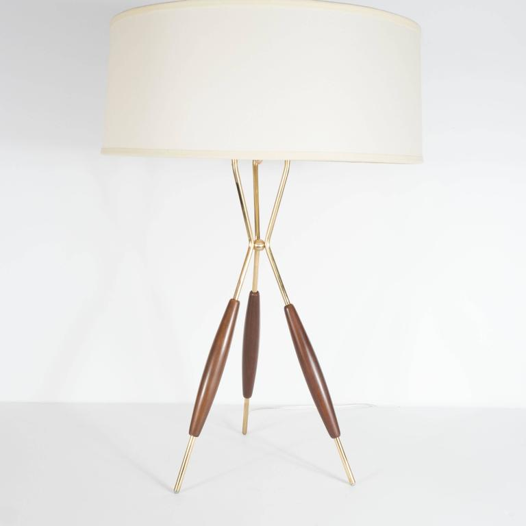 Pair Of Mid Century Tripod Table Lamps By Gerald Thurston For