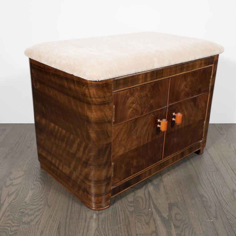 art deco machine age storage bench in bookmatched walnut and camel mohair for sale at 1stdibs. Black Bedroom Furniture Sets. Home Design Ideas