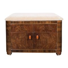 Art Deco Machine Age Storage Bench in Bookmatched Walnut and Camel Mohair