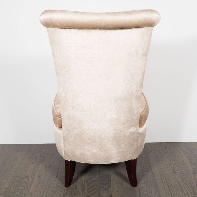 Hollywood Regency Scroll Back Vanity Chair In Cream Velvet With Splayed Legs