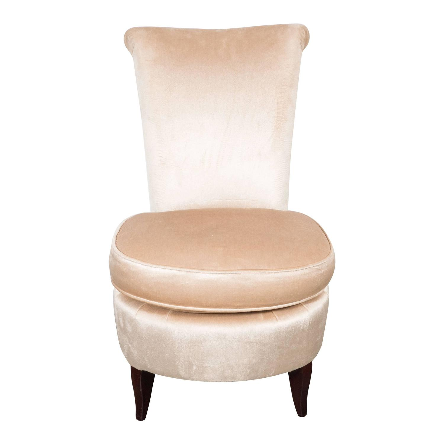 Hollywood regency scroll back vanity chair in cream velvet with splayed legs for sale at 1stdibs - Vanity stool with back ...