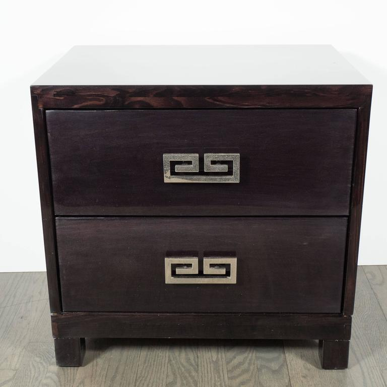 Pair of Mid-Century Ebonized Greek-Key Nightstands/End Tables w/ Greek Key Pulls In Excellent Condition For Sale In New York, NY