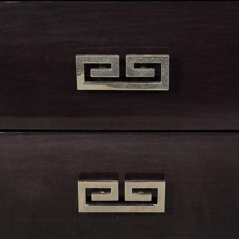Pair of Mid-Century Ebonized Greek-Key Nightstands/End Tables w/ Greek Key Pulls For Sale 1