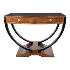 French Art Deco Console in Bookmatched Walnut and Black Lacquer Accents
