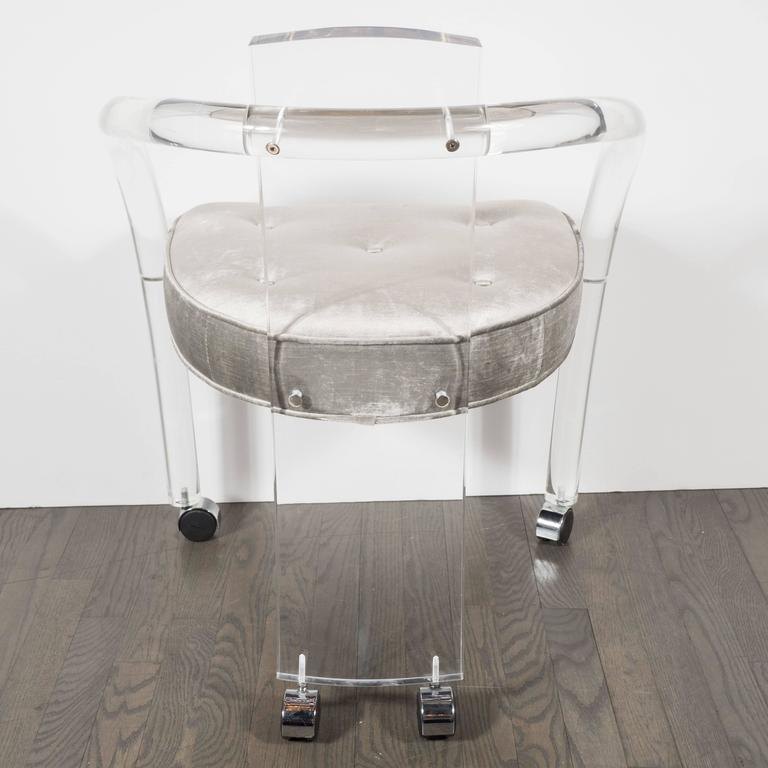 Lucite upholstered rolling swivel vanity chair is no longer available - Ultra Chic Modernist Curved Lucite Desk Or Vanity Chair At