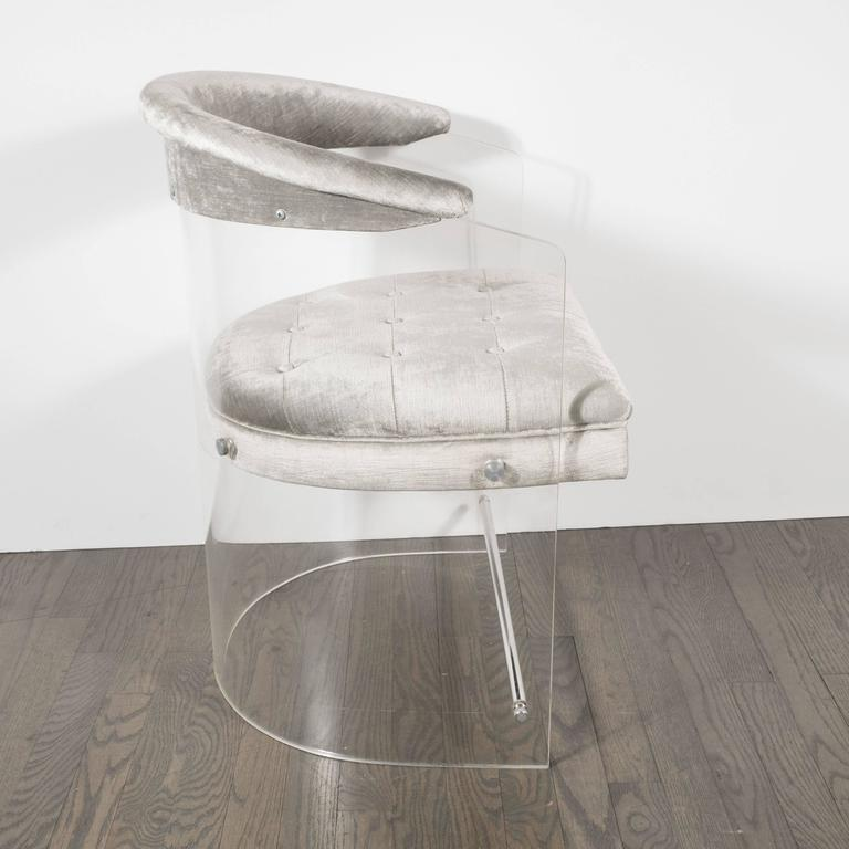 A Mid-Century Lucite wrap around chair in luxe platinum velvet upholstery. A single & Luxe Mid-Century Lucite and Chrome Wrap Around Chair in Platinum ...