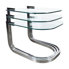 Mid-Century Trio of Nesting Tables in Chrome and Glass by D.I.A