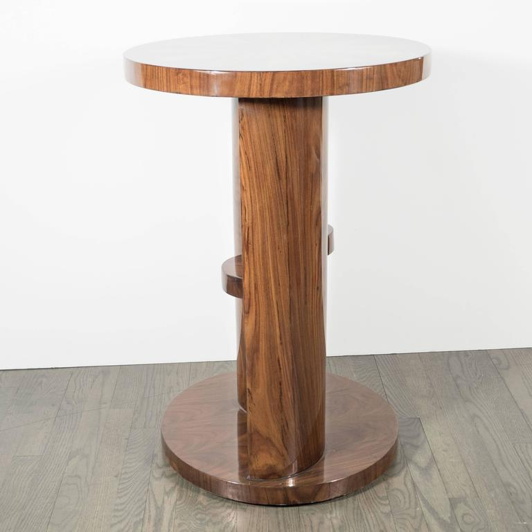 French Art Deco Inlaid Starburst Occasional Table in Walnut with Olive Wood Detailing For Sale