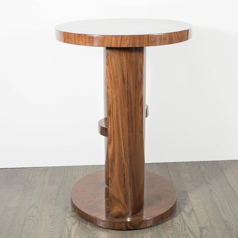 Mid-20th Century Art Deco Inlaid Starburst Occasional Table in Walnut with Olive Wood Detailing For Sale