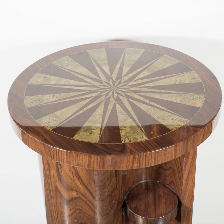 Art Deco Inlaid Starburst Occasional Table in Walnut with Olive Wood Detailing For Sale 1