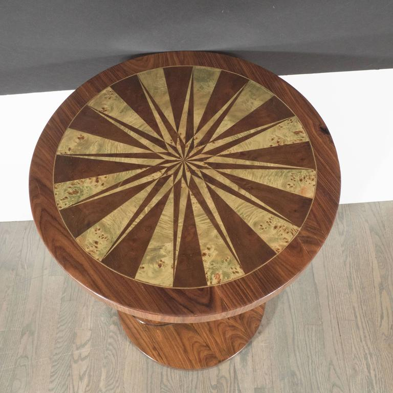 Art Deco Inlaid Starburst Occasional Table in Walnut with Olive Wood Detailing For Sale 2