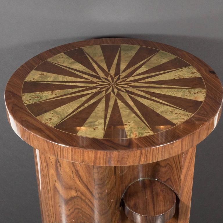Art Deco Inlaid Starburst Occasional Table in Walnut with Olive Wood Detailing For Sale 3