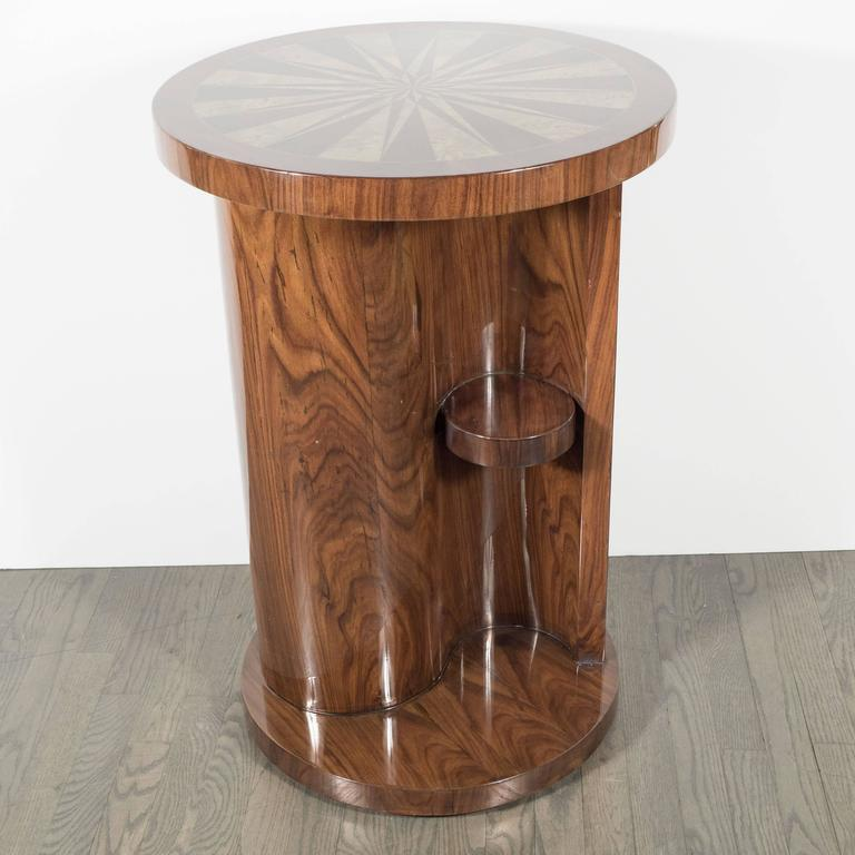 Art Deco Inlaid Starburst Occasional Table in Walnut with Olive Wood Detailing 9
