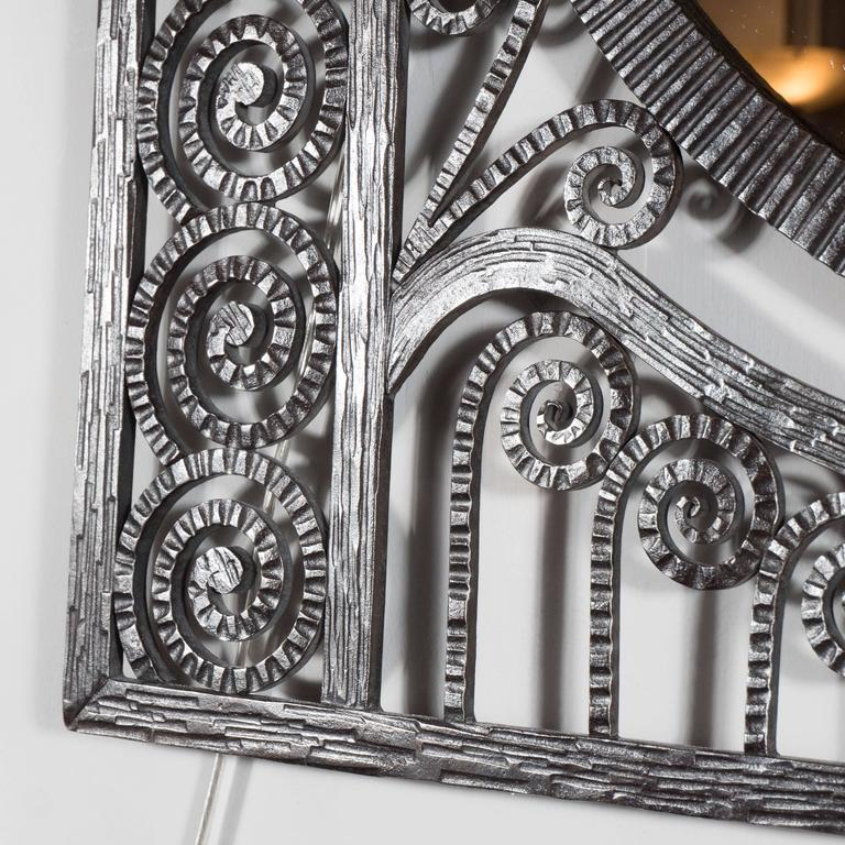 Art Deco Wrought Iron Mirror with Scroll Detailing in the Manner of Edgar Brandt In Excellent Condition For Sale In New York, NY