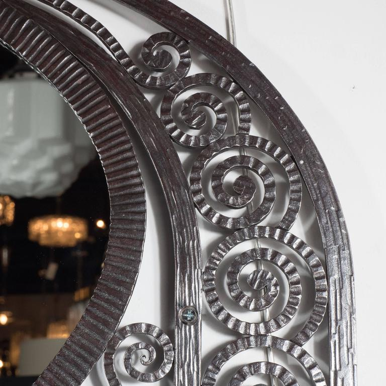 French Art Deco Wrought Iron Mirror with Scroll Detailing in the Manner of Edgar Brandt For Sale