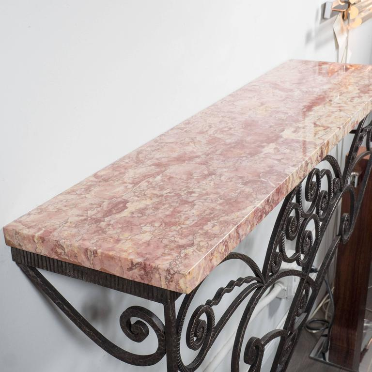 French Art Deco Wrought Iron and Marble Console Table in the Manner of Edgar Brandt For Sale
