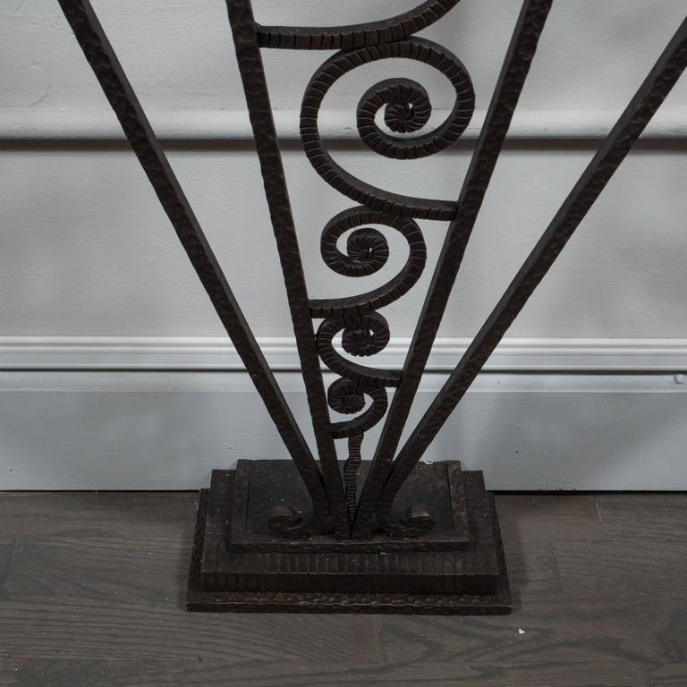 Art Deco Wrought Iron and Marble Console Table in the Manner of Edgar Brandt In Excellent Condition For Sale In New York, NY