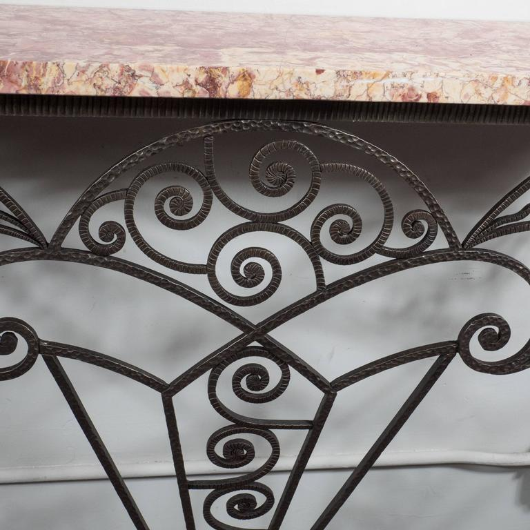 Mid-20th Century Art Deco Wrought Iron and Marble Console Table in the Manner of Edgar Brandt For Sale