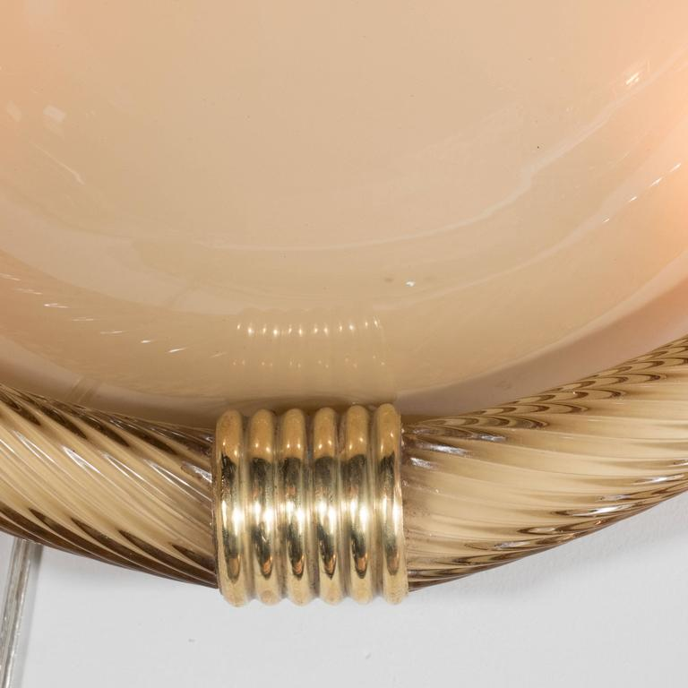 Elegant Pair of Seguso Murano Half-Dome Sconces in Golden Taupe Glass and Brass at 1stdibs