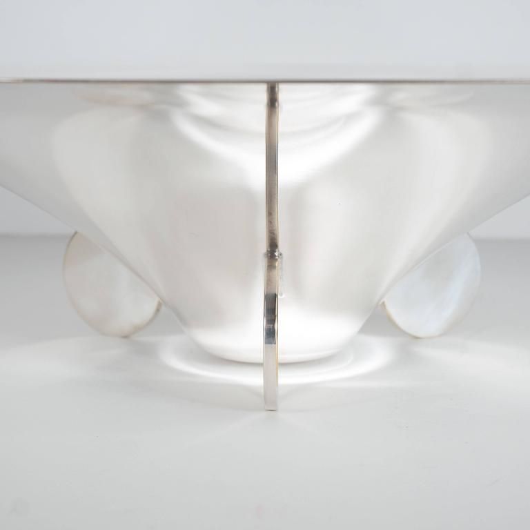 Mid-20th Century Sculptural German Art Deco Silver Plate Center Bowl by Ikora For Sale