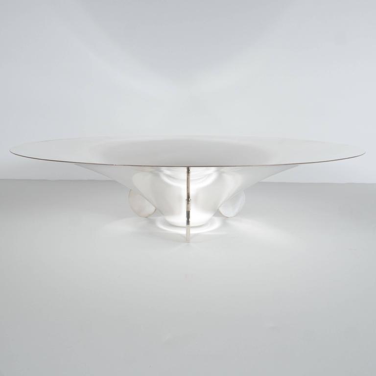 Sculptural German Art Deco Silver Plate Center Bowl by Ikora For Sale 2