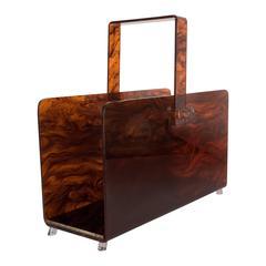 Exceptional Art Deco Tortoise Bakelite and Vitrolite Magazine Stand / Rack