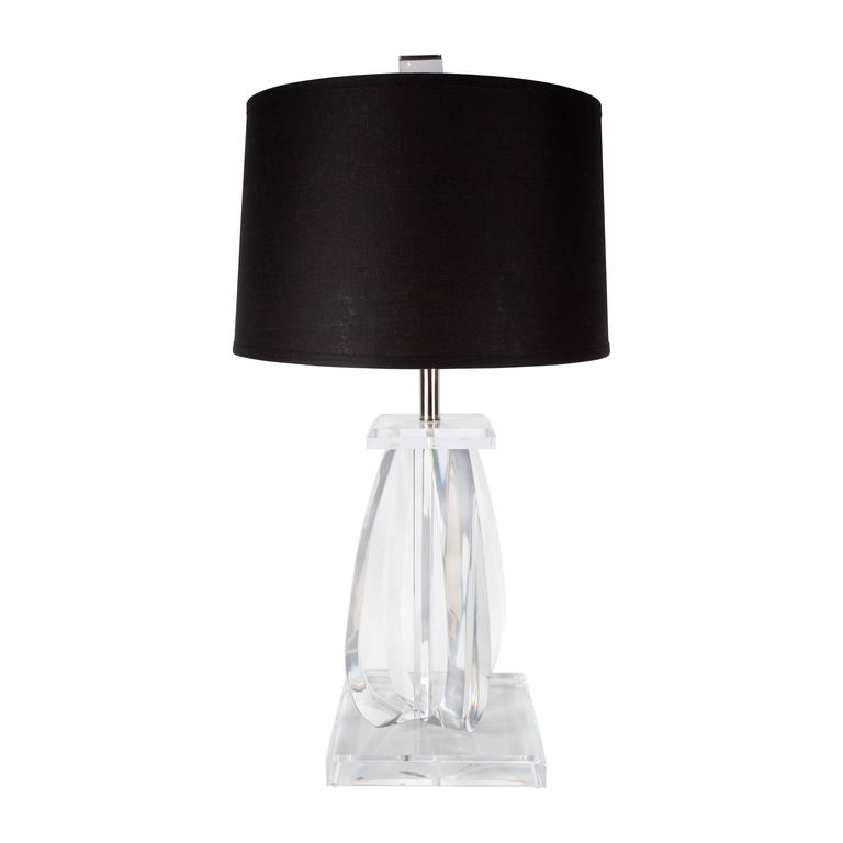 Mid-Century Modernist Lucite Table Lamp with Chrome Fittings