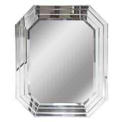 Hollywood Regency Segmented and Layered Octagonal Mirror with Crystal Florets