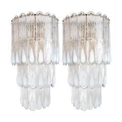 """Midcentury Textured Clear and Iridescent Glass """"Peacock"""" Sconce Pair by Mazzega"""