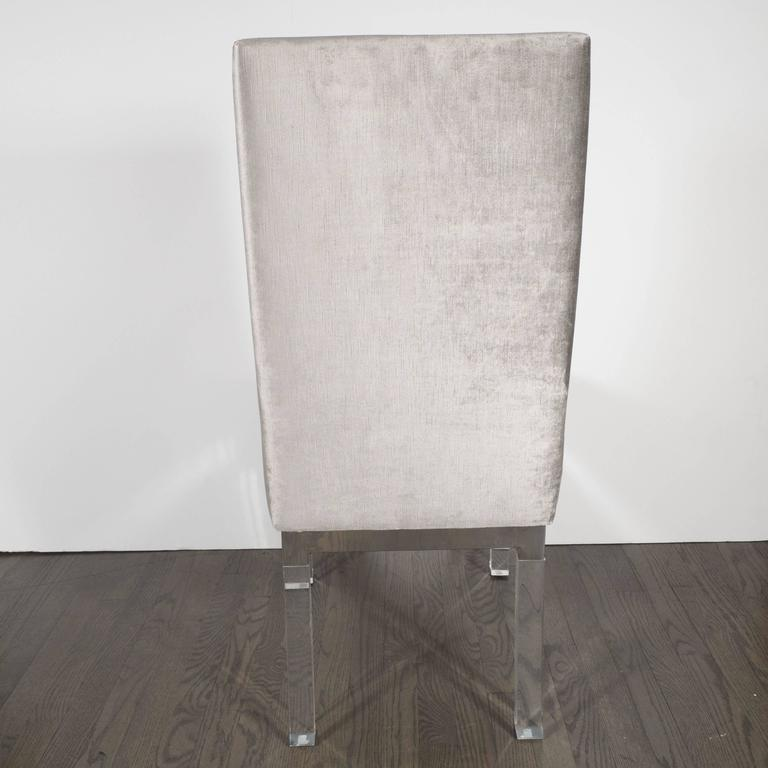 Mid Century Modern Charles Hollis Jones Lucite Small: Four Dining Chairs In Lucite, Chrome And Platinum Velvet