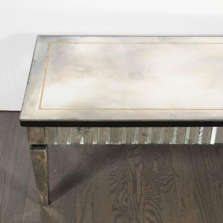 Directoire Style Rectangular Mirrored Cocktail Table With